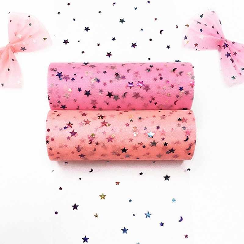 10 หลา/Lot Tutu กระโปรงผ้า 15 ซม.ดาว Tulle Glitter Tulle ม้วน SPOOL Tutu POM เลื่อมนุ่ม tulle งานแต่งงาน DIY Decor วันเกิด