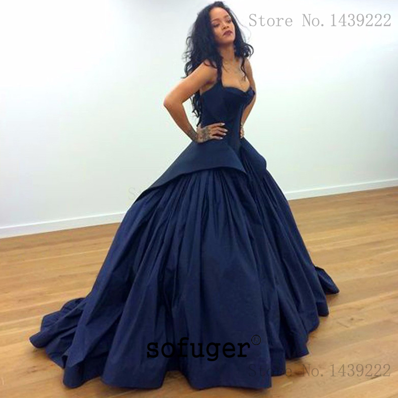 Fabulous Navy Blue Satin Evening Dresses Prom Tiered Bacll Gown Long Arabic Special Occasion Robe De Soiree Plus