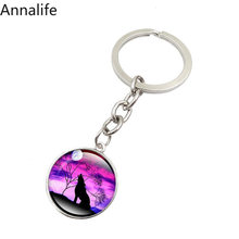 2019 New Wolf-Keychain Wolf & Moon Pendant, Vintage Aggressive Men Jewelry Glass Cabochon Key Chain Holder Gifts(China)