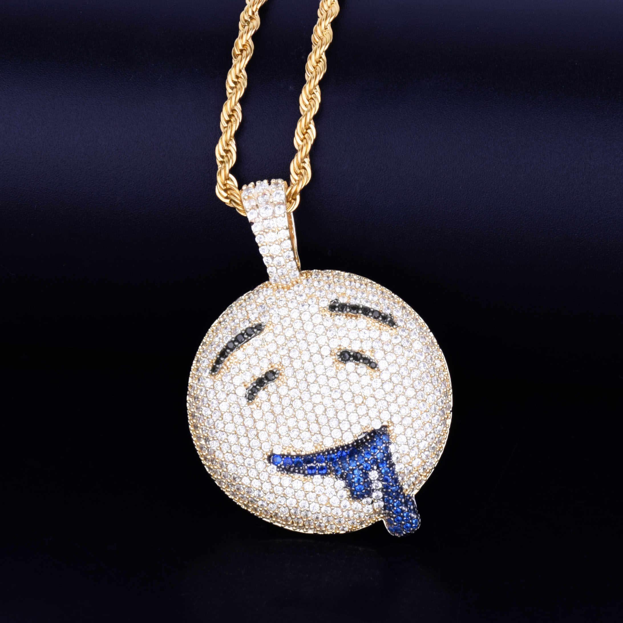 Ślinić się okrągła twarz wisiorek z łańcuch tenisowy złoty srebrny urok Bling Cubic cyrkon męski hip hop naszyjnik Rock biżuteria