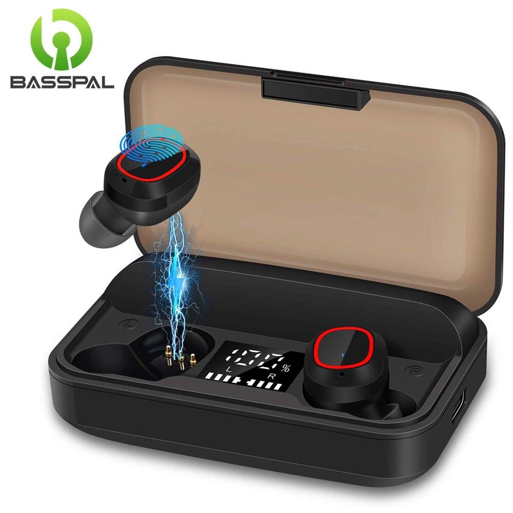 BassPal TWS sans fil Bluetooth 5.1 écouteur avec 3100mAh boîtier de charge IPX7 étanche contrôle tactile suppression de bruit pour le Sport