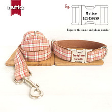 Hot Sale 120cm Long Fashion Cotton&nylon Rope Dog Leash Elegant Grid Plaid Design Puppy Collar+leash Sets Pet Products