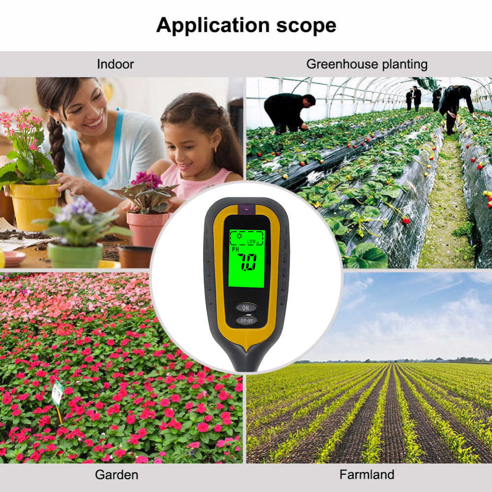 Soil Tester 4 in 1 Soil pH Moisture Meter Thermometer Hygrometer Sunlight Monitor with Green Backlight Auto off Function