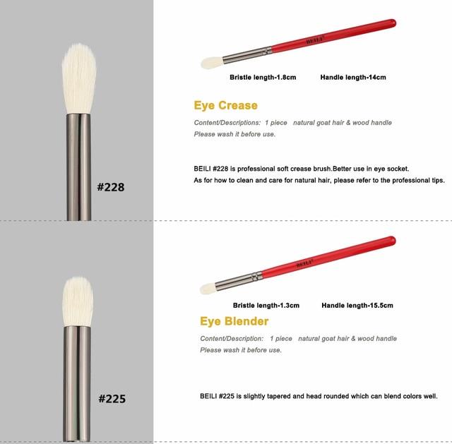 BEILI Makeup Brush 1PCS Professional Natural Hair Eye Shadow Brush Blender Crease Makeup Cosmetics 228/221/222/223/235/134/225 1