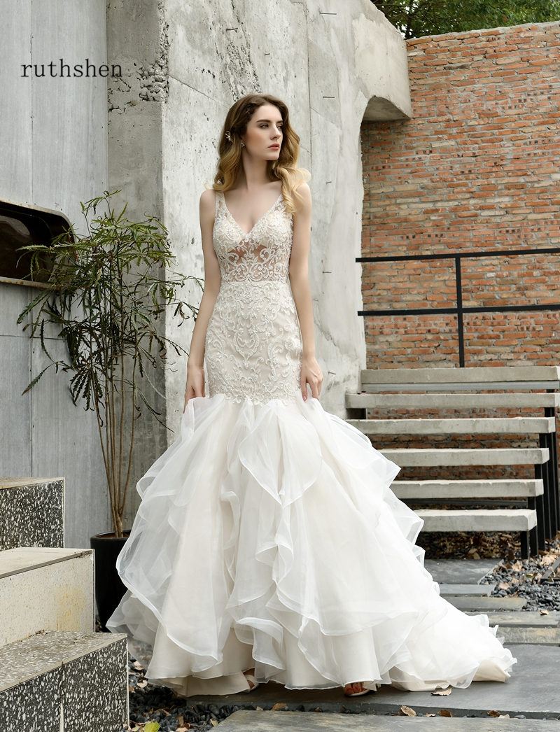 Robe Princesse Mariage perlée dentelle sirène Robe de mariée 2019 nouveau Sexy Champagne Tulle robes de mariée pour la mariée - 5