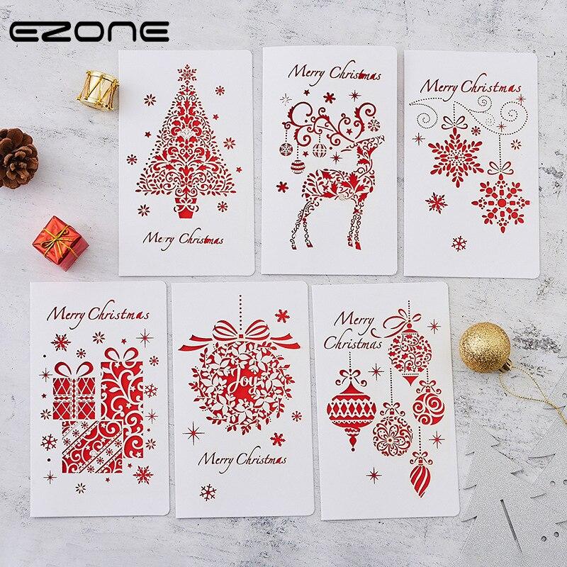 EZONE Christmas Theme Greeting Card+ Envelope Sets Wallet Envelope Christmas Tree/Elk/Snowflake Christmas Stationery Supply