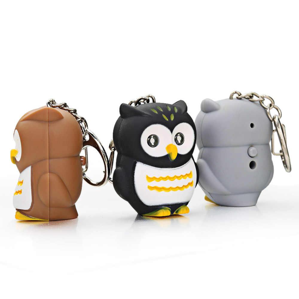 LLavero de ojo de búho LED con sonido Navidad llavero con animal para niños regalos creativos para niños juguetes Mini linterna llavero K392