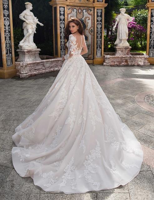 Elegant Ball Gown Wedding Dress 2021 Lace Princess Satin Belt Beading Appliques Bridal Muslim Bride Gowns Vestido De Noiva 4