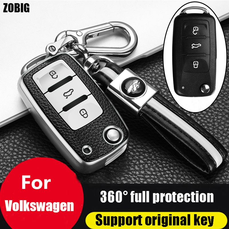 ZOBIG for VW Key Fob Cover  for VW Beetle Passat Tiguan Touran Jetta MK1-MK6 Golf GTI Rabbit R MK6 MK5 Premium