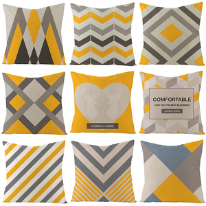 Image 2 - YIANSHU 45*45cm Geometric Cushion Covers Yellow And Gray Rhombus Pillow Case For Home Chair Sofa Decoration Square Pillowcases