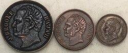 Malaysia Sarawak 1863 1 Einen Cent 1/2 Halb Cent 1/4 Viertel Cent Rot Kupfer Münzen