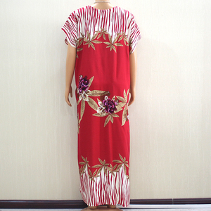 Image 2 - 2019 Fashion New Arrival Wonderful Red 100% Cotton Appliques V Neck Short Sleeve Long Dress African Dashiki Long Dress