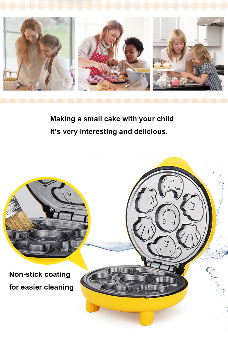 Children Mini Cartoon Waffle Maker Cake Machine With Double Sided Heating To Making Breakfast 6