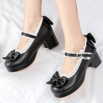 AGODOR Black Lolita Shoes Mary Jane Shoes for Women High Heels Platform Pumps Block Heels Shoes Woman Pink Big Size 42 43 44 45 2018 women shoes black work super high heels shoes woman sweet bow single shoes big size 32 43 46 47 leather shoes red bottom