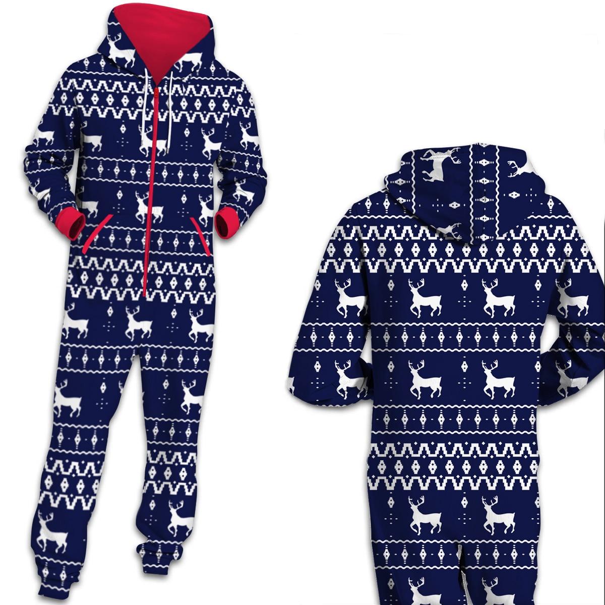Новинка 2019, комбинезон для пар, одинаковые пижамы, комбинезон для мужчин и женщин, Мужская Рождественская тема, одежда с капюшоном