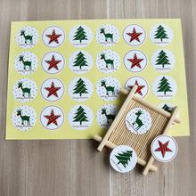 120pcs Xmas new Year Round Christmas Sticker Tree Deer Star Design Paper Label Baking Gift Wrapper Decoration Stickers
