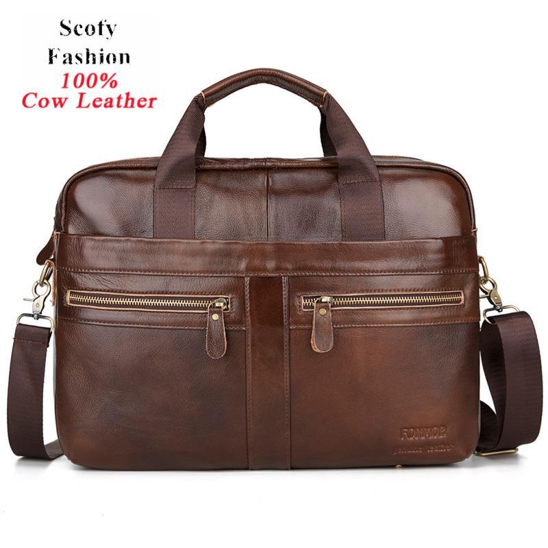 Men Vintage 100% Genuine Leather Laptop Business Bags Cowskin Solid Retro Wax Briefcase Double Zipper Crossbody Bags