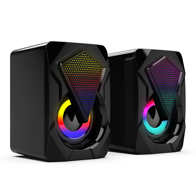 Stereo Sound Surround Loudspeaker X2 RGB Computer Speakers USB Powered 3Wx2 Bass Speakers for Desktop Laptop PC 5