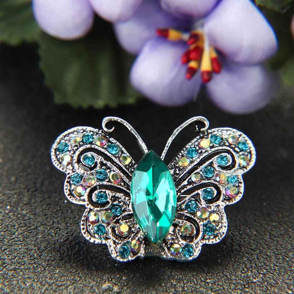 Vintage Berlian Imitasi Bentuk Kupu-kupu Bros Kerah Pin Logam Alami Hewan Bentuk Brooche untuk Wanita Kostum Syal Aksesoris