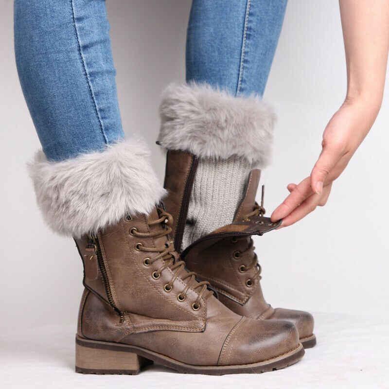 Mùa Thu Đông Cổ Nữ Dệt Kim Khởi Động Vòng Bít Lông Đan Ấm Bao Tay Chân Giày Vớ Chân Ấm Giày Bộ Quà Giáng Tặng