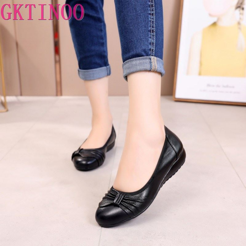GKTINOO Women Shoes Woman Genuine Leather Flat Shoes Casual Work Loafers Ballet Flats New Fashion Women Flats Plus Size 35 -43