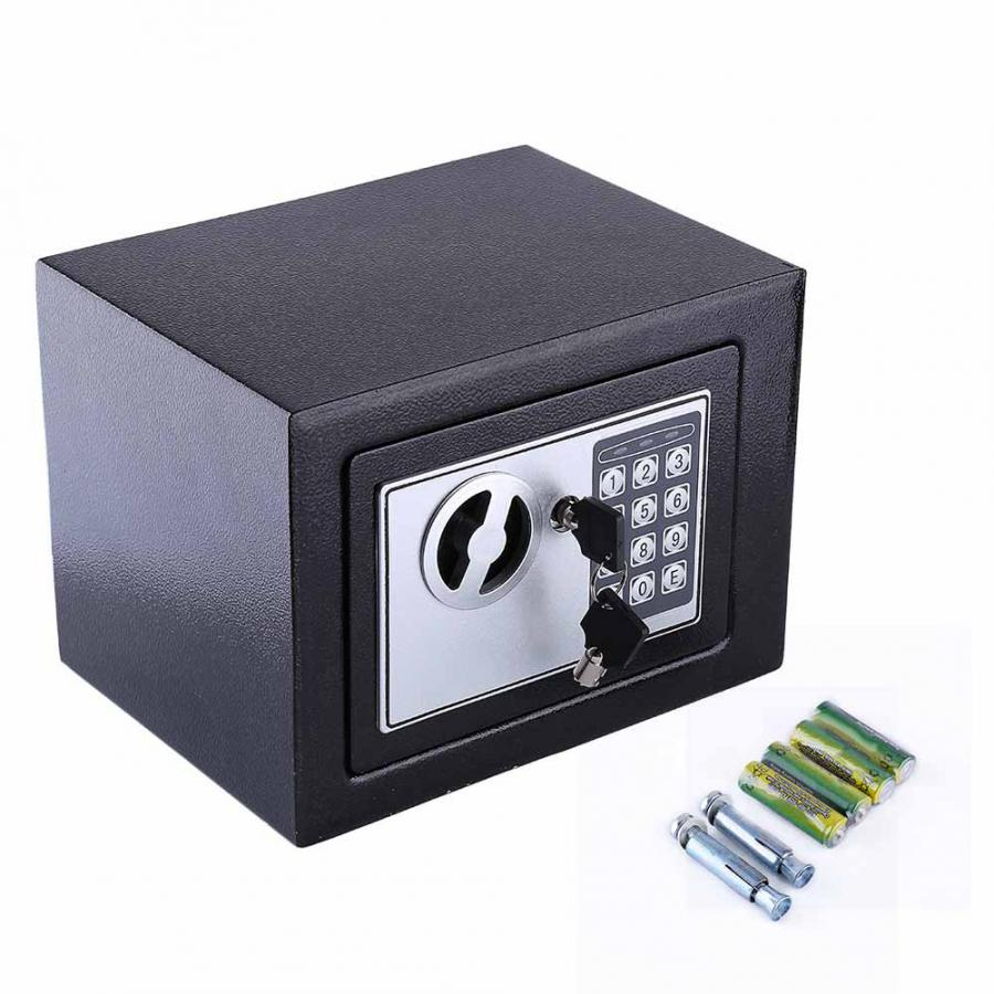 6.4L Digital Security Lock Safe Box For Guard Money Cash Coins Jewelry Key Home Office Safety Security Lock Storage Boxes Black