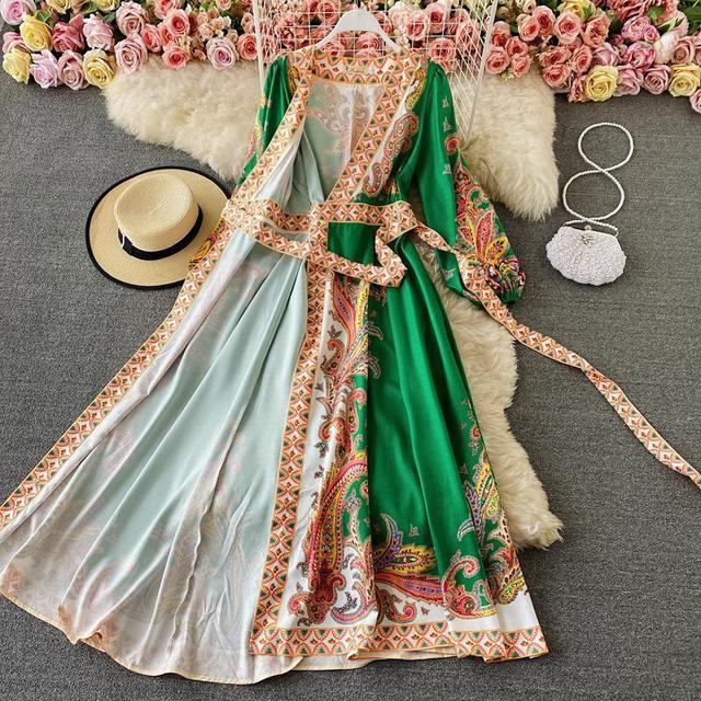 Elegant Dress Court Style Retro Fashion Outwear Printing Bubble Sleeve Temperament Fashion Dress Women V-neck Hit Color Vestidos 2