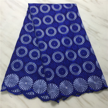 5 yards Swiss lace fabric 2020 latest heavy embroidery blue African 100% cotton fabrics Swiss voile lace popular Dubai style