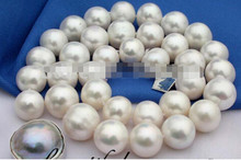 "927 +++ Beautiful AAA18"" 12mm white round freshwater pearl necklace Mabe(China)"