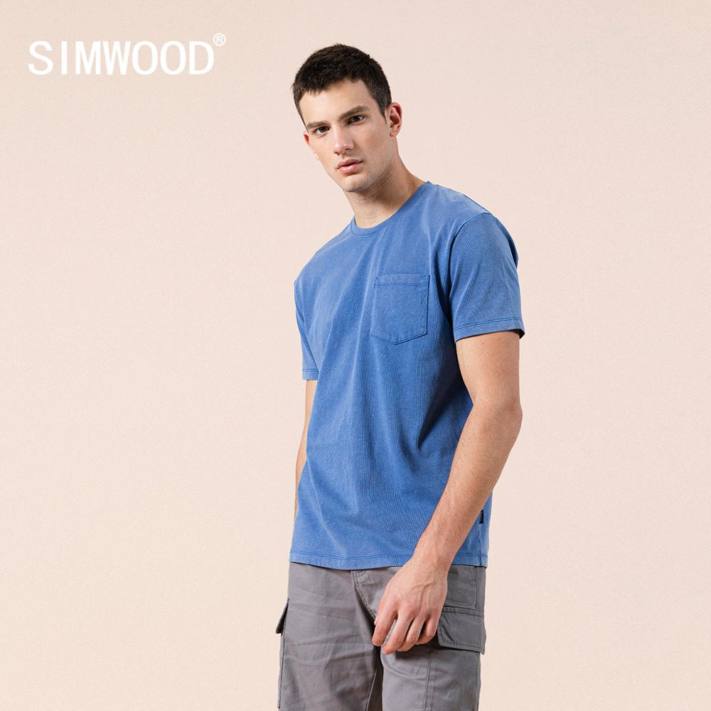 SIMWOOD 2020 Summer New Blue T-shirt Men 100% Cotton Snow Wash Casual T Shirt Chest Pocket Tops Plus Size Clothing SJ110150