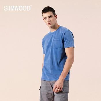 SIMWOOD 2020 summer new blue t-shirt men 100% cotton snow wash casual t shirt chest pocket tops plus size clothing SJ110150 - discount item  49% OFF Tops & Tees