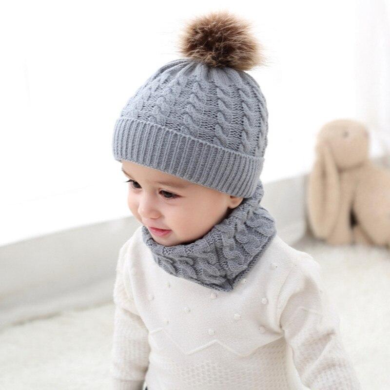 2019 New 2Pcs Cute Kid Girl Boy Baby Infant Winter Warm Crochet Knit Hat Beanie Cap+Scarf Two-piece Set