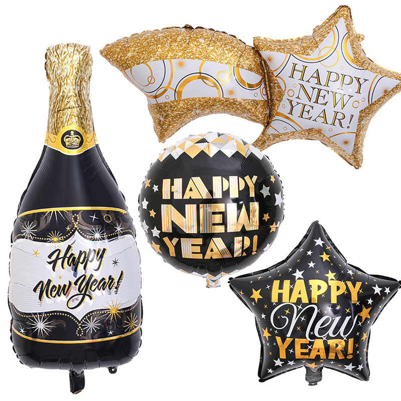 2021 Happy New Year Star Bottle Foil Balloons Event Party Merry Christmas Decor