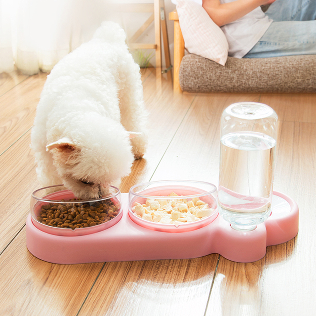 NEW Pet Dogs Cats Double Bowls Food Water Feeder Container Dispenser For Dogs Cats Drinking High Quality Pet Products 3