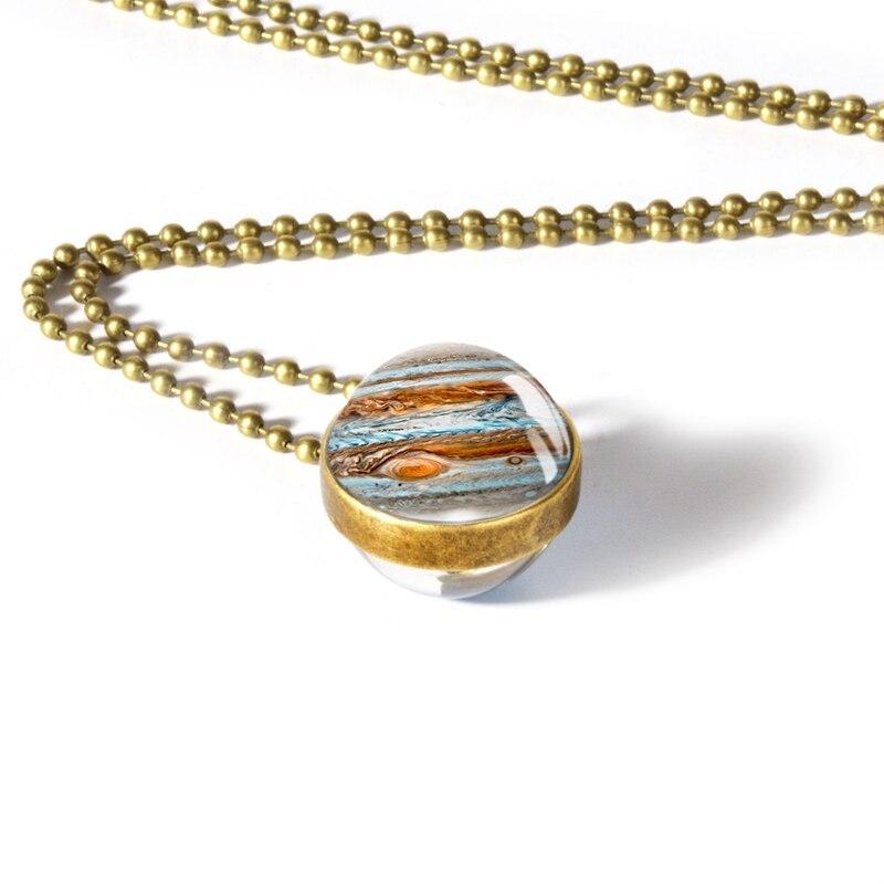 Globe Double Sided Necklace Solar System Planet Venus Mercury Mars Saturn Uranus Neptune Earth Sun Pendant Dome Glass Necklaces 14