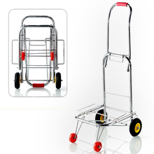 Folding Lightweight Hand Truck, Portable Luggage Cart Can Load 220LBS, Household Trolley with 14cm Rubber Wheels