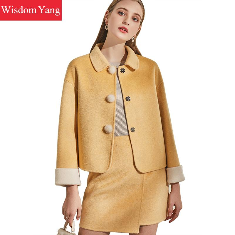 2 Piece Set Winter Coat Women Suit Wool Cashmere Coats Womens Laides Pink Yellow Overcoat Jackets Woolen Mini Skirts Outerwear