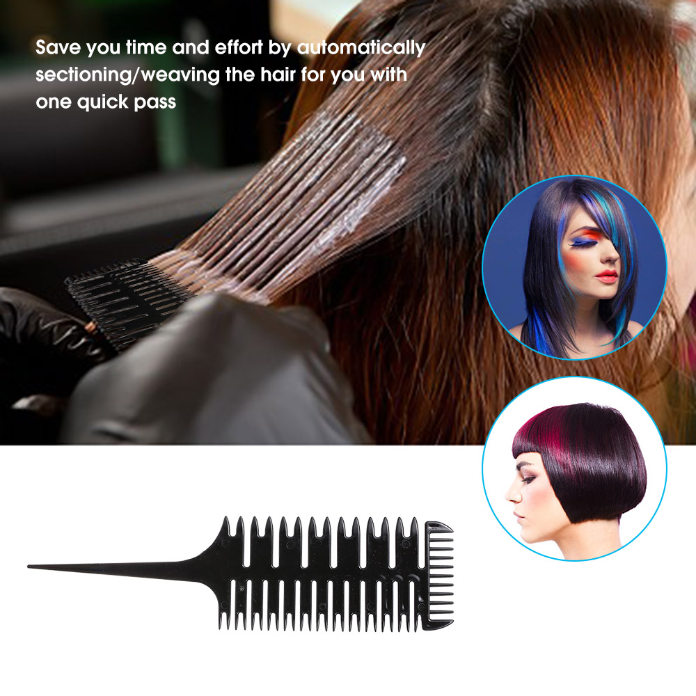 Hair Dyeing Comb 3-Way Sectioning Highlight Comb Professional Weave Weaving Comb Hair Dye Styling Tool For Salon Use