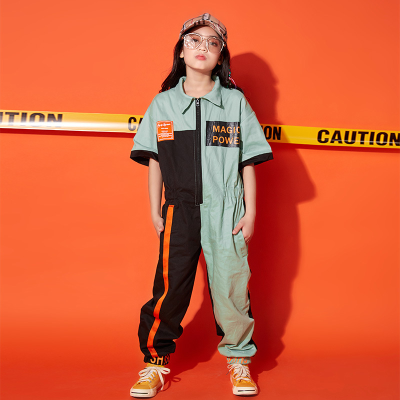 Kids Cool Short Sleeve Hip Hop Clothing Loose Jumpsuit Overalls For Girls Boys Jazz Dance Costume Wear Ballroom Dancing Clothes