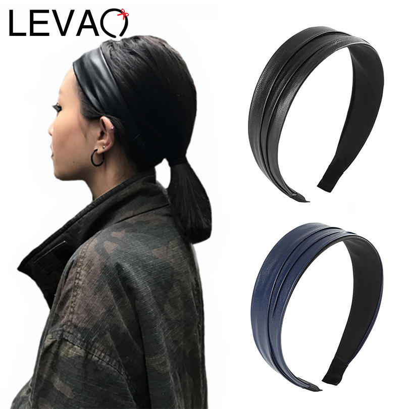 LEVAO 2020 Synthetic Leather Headband Elegant Hairband Bezel Turban Bohemia For Women Girls Hair Accessories Hair Hoop Headwear