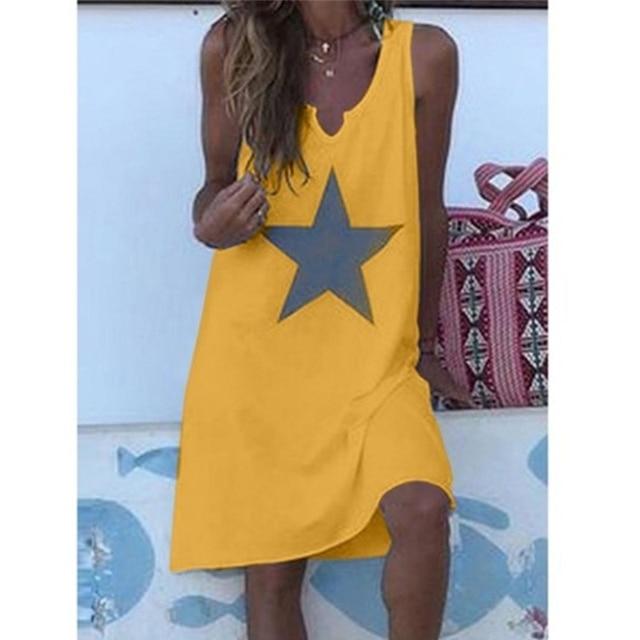 Women 2021 Loose Vintage Star Print Cotton Dress Large Big Summer  Party Beach Dresses Plus Sizes 5