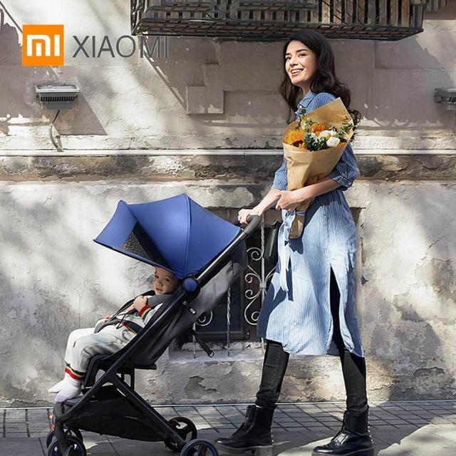 Xiaomi carrinho de bebê, carrinho de bebê com 4 rodas de absorção de choque almofada antibacteriana corta dossel off raios ultravioletas 0 36 meses carrinho de bebê