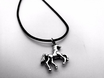 Cute Antique Silver Running Horse Necklace Lucky Cartoon Minimalist Unicorn Rope Leather Necklaces for Animal Jewelry