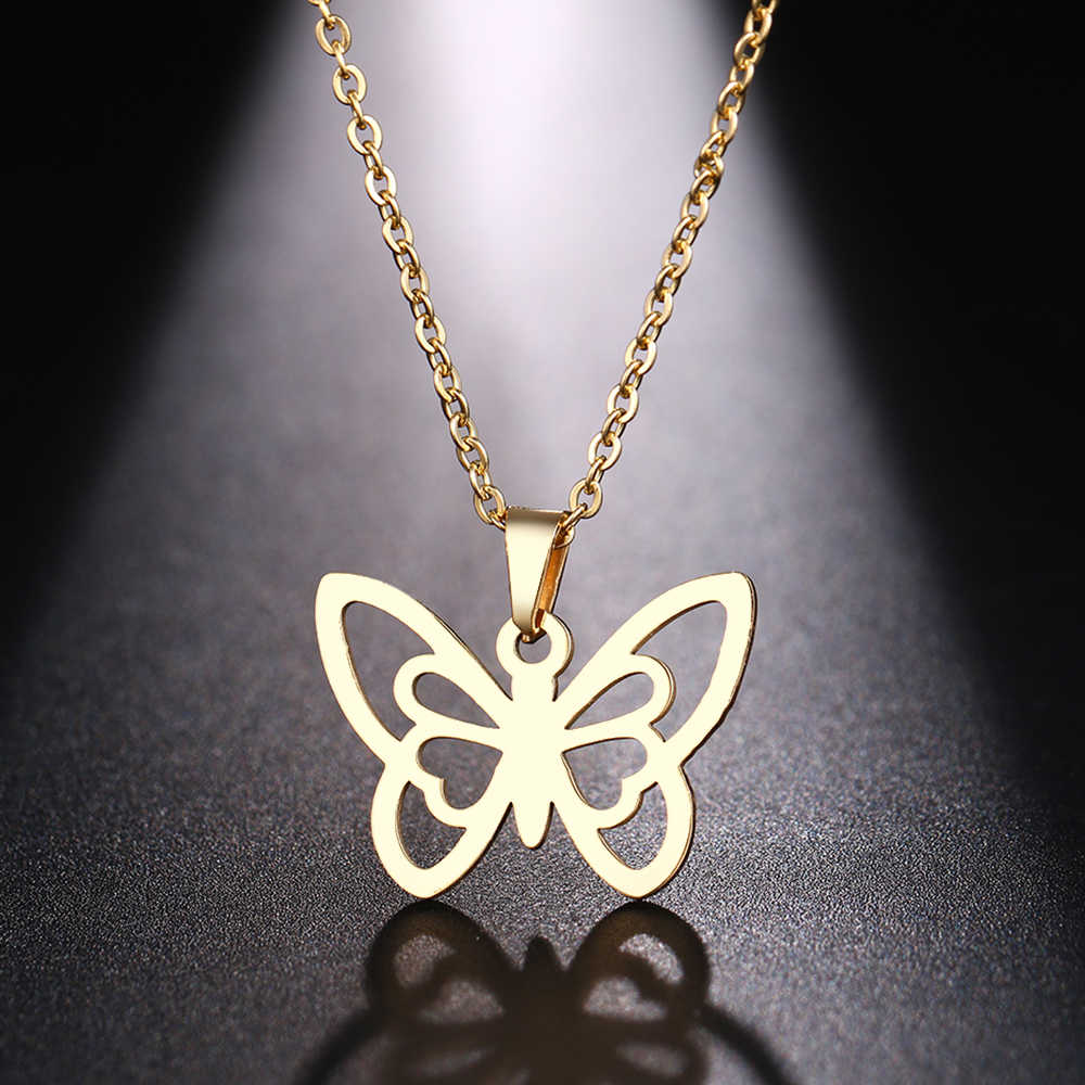 DOTIFI Stainless Steel Necklace For Women Man Hollow butterfly Choker Pendant Necklace Gift Engagement Jewelry