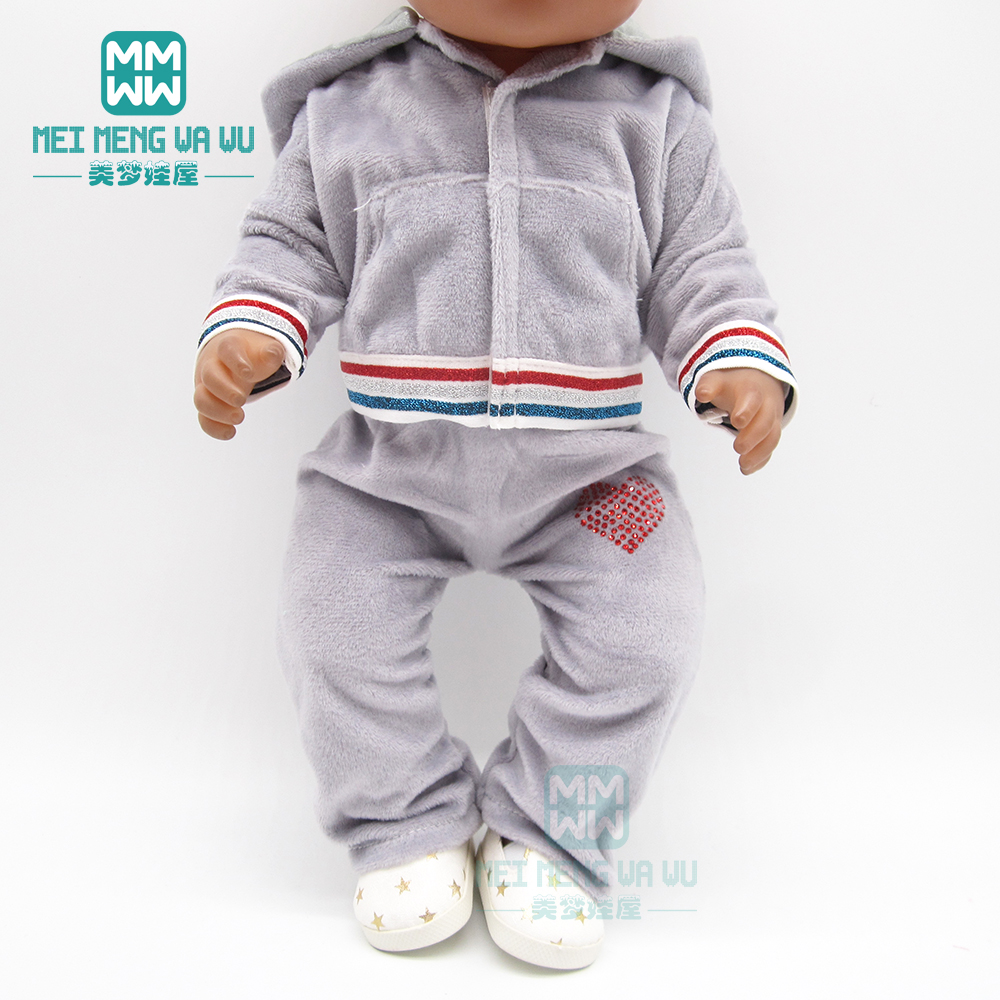 Doll Clothes Fashion Hooded Sports Suit For 43 Cm Toy New Born Doll Baby 18 Inch American Doll Our Generation
