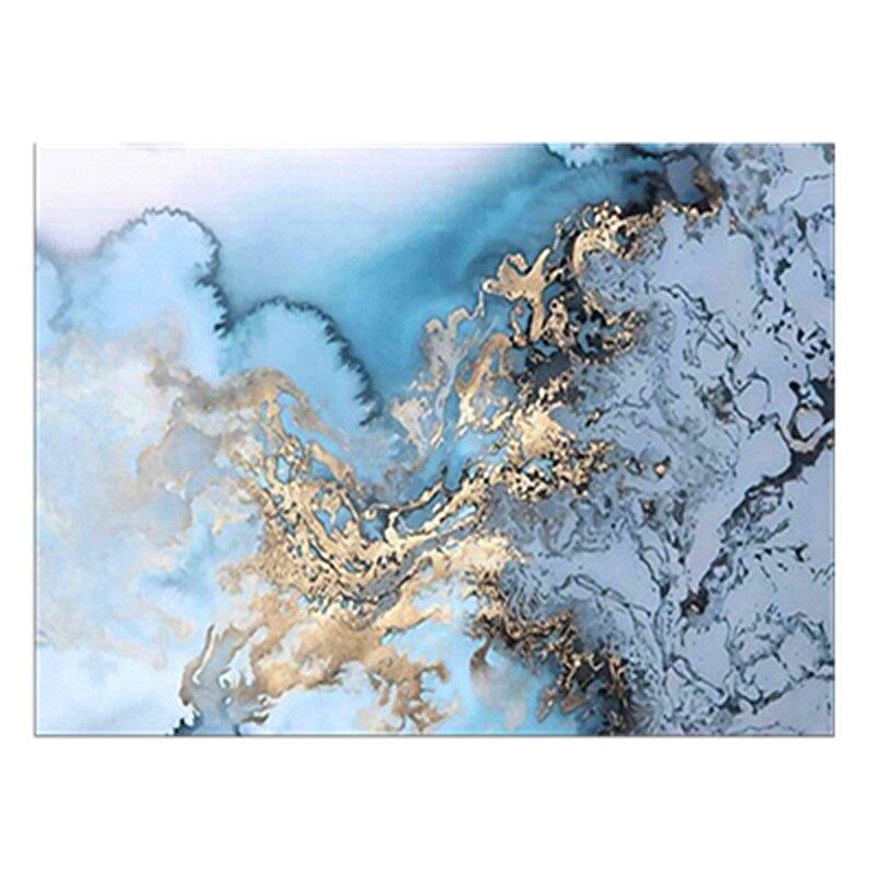 Купить синий ковер с абстрактным изображением дней синего океана золотистый