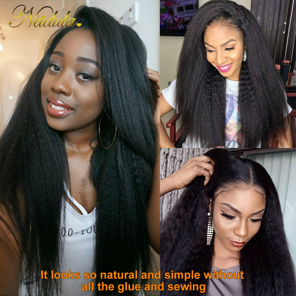 Nadula Hair U Part Wig  Kinky Straight Hair U Part Wig  Natural Color 100%  Wigs for Women 2