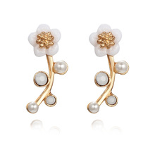 small and pure and fresh flowers earrings fashion simple little Daisy branches pearl earrings small adorn article