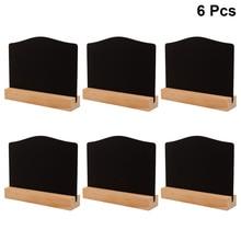 6pcs Double-sided Mini Blackboard Wooden Message Board Decorative Chalkboard for Shop Bar Coffee House (Small Size Board with Ba
