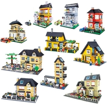 DIY hot sale Street Creation Architecture City Inn Village House Family Home Figures Car Building Blocks Educational Toys gifts street architecture inn village house family home city series figures and car building blocks brick learning